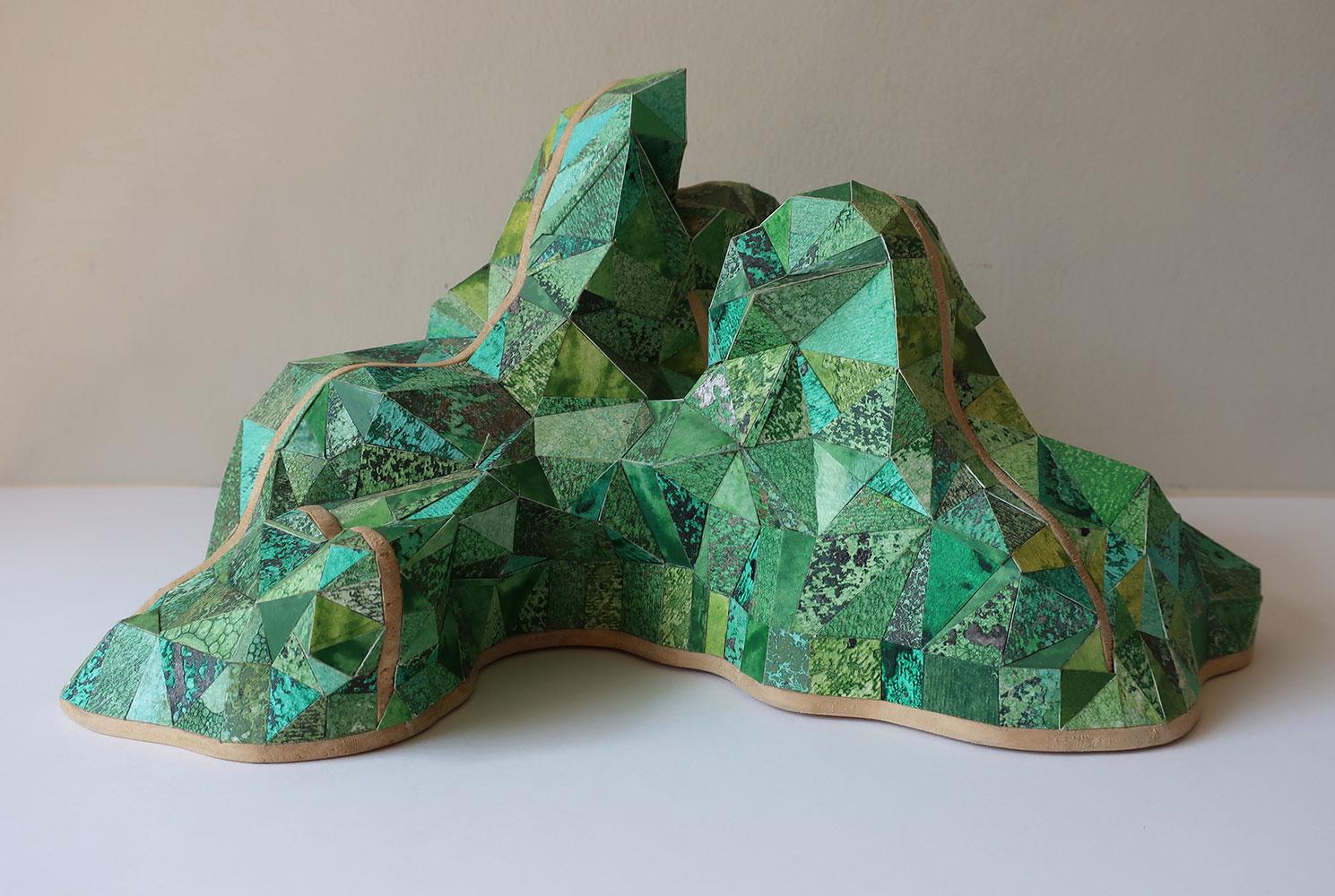 "Sophia Allison, Untitled (Green Mountain), Acrylic and studio floor dirt on watercolor paper, wood, 5 ½"" x 5 ¼"" x 12"""