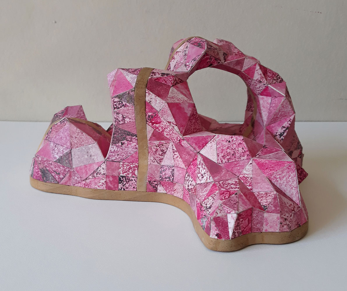 "Sophia Allison, Untitled (Little Pink), Acrylic and studio floor dirt on watercolor paper, wood, 4 ½"" x 7 ¾"" x 7 ½"""