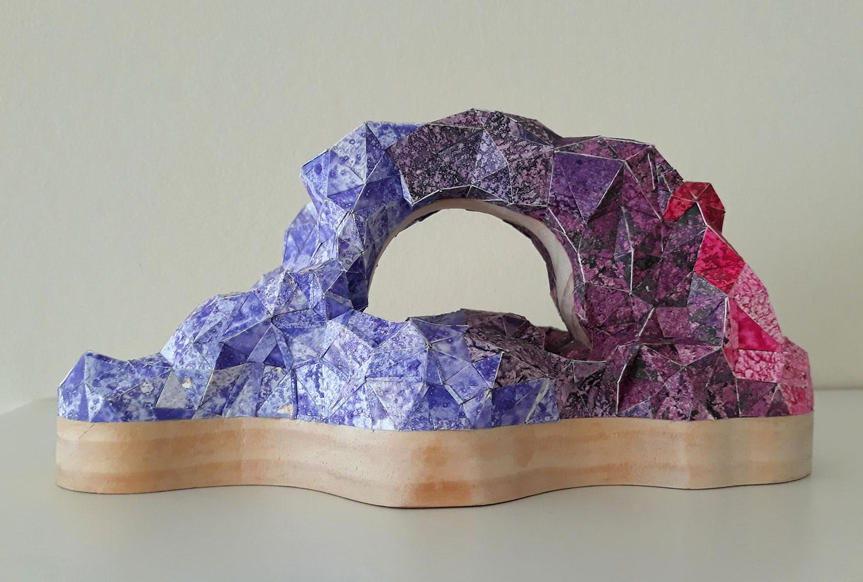 "Sophia Allison, Untitled (Mountain/Pink Purple Sky), Acrylic and studio floor dirt on watercolor paper, wood, 4 ½"" x 3"" x 9"""
