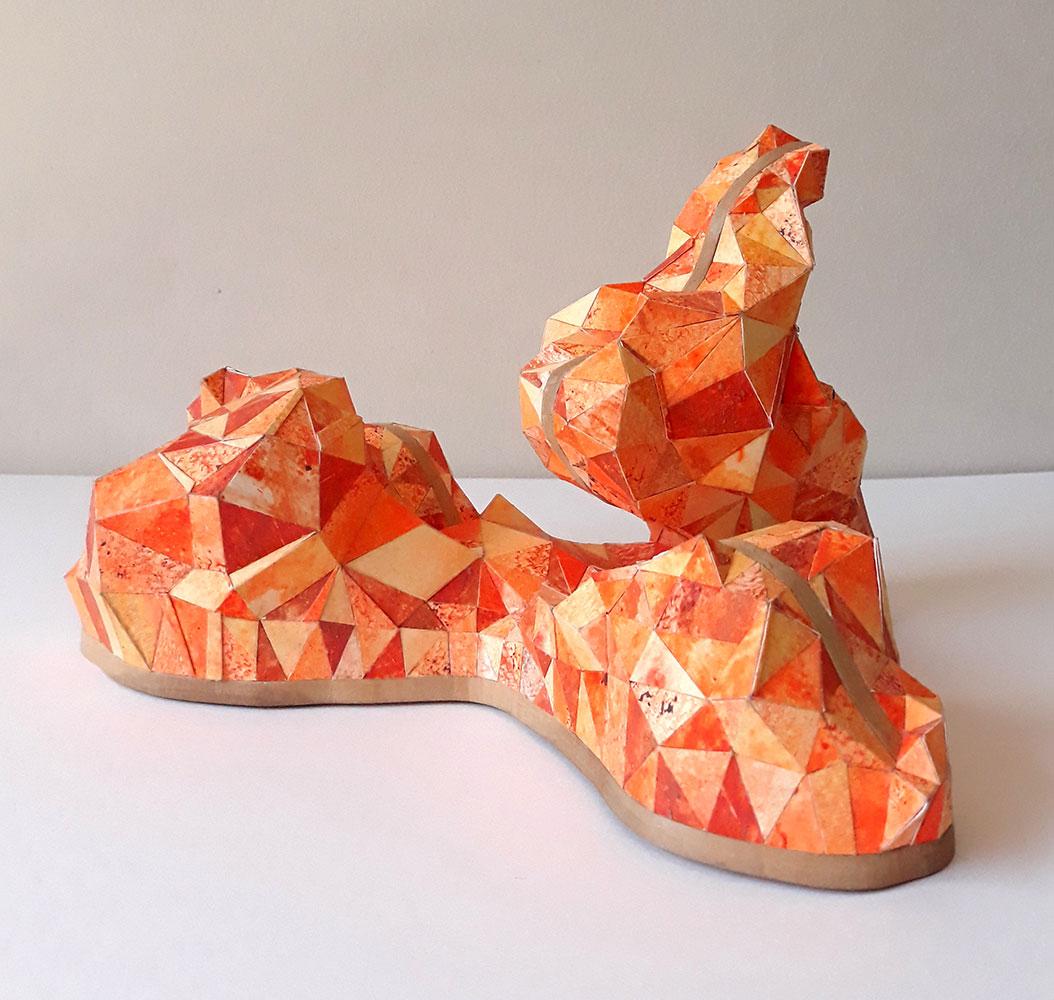 "Sophia Allison, Untitled (Orange Fire), Acrylic and studio floor dirt on watercolor paper, wood, 6 ½"" x 8 ¼"" x 9 ½"""