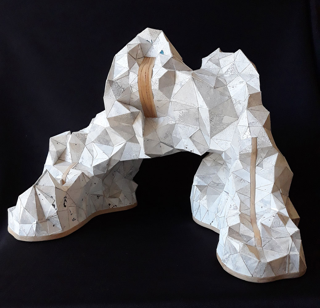 """Sophia Allison, Untitled (Silver Mountain), Acrylic and studio floor dirt on watercolor paper, wood, 12"""" x 15 ¾"""" x 9 ½"""""""