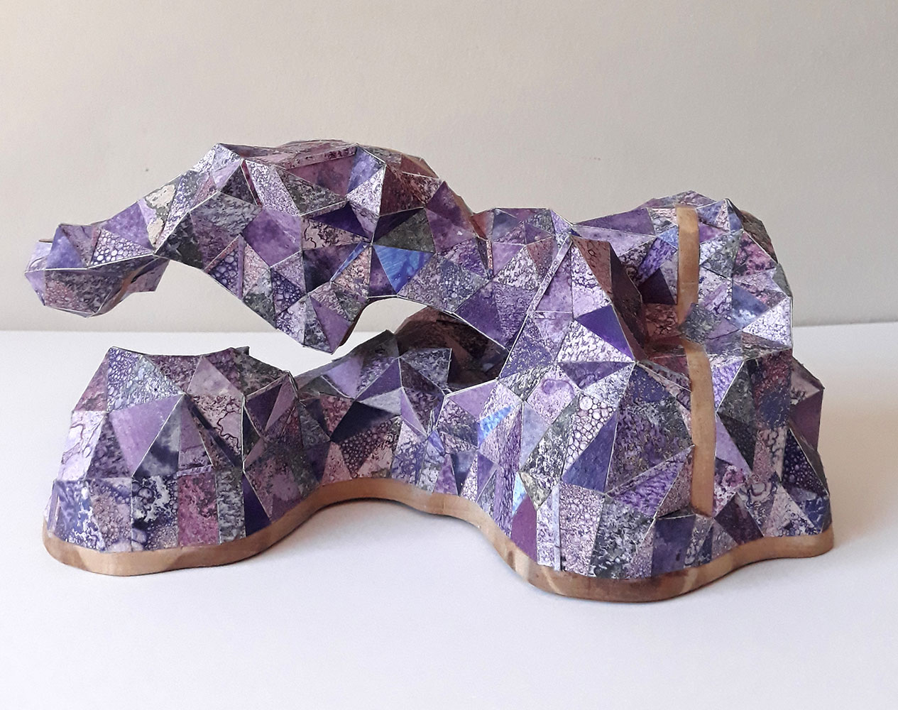 "Sophia Allison, Untitled (Purple Passing), Acrylic and studio floor dirt on watercolor paper, wood, 5 ½"" x 6 ½"" x 9 ½"""