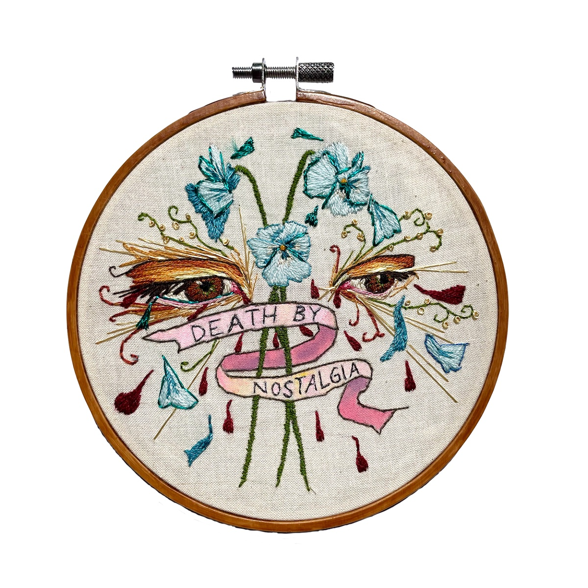 """Amber Mustafic Death by Nostalgia, 2021 Hand embroidery and acrylic paint on cotton 5"""" diameter"""