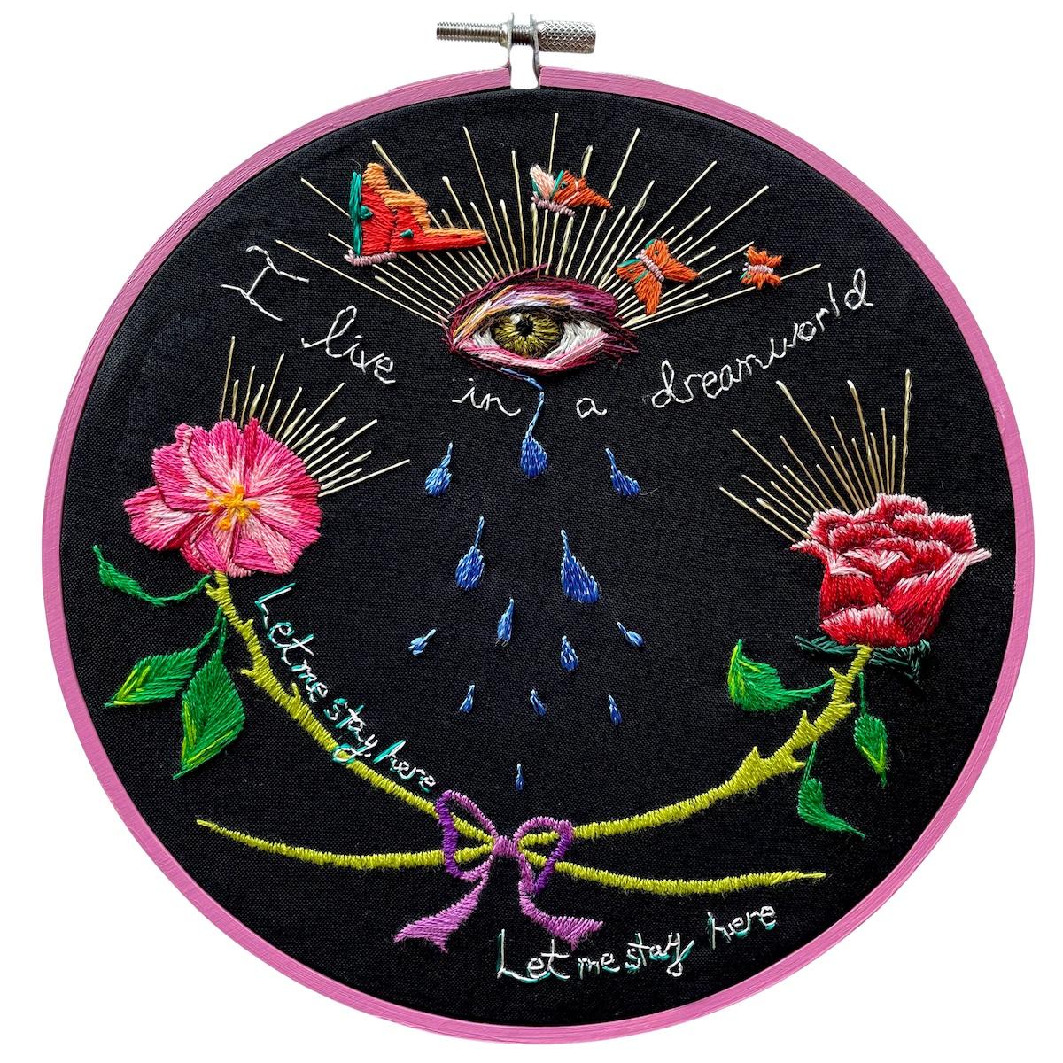 "Amber Mustafic Dreamworld, Noir 2021 Hand embroidery on cotton 8"" diameter"