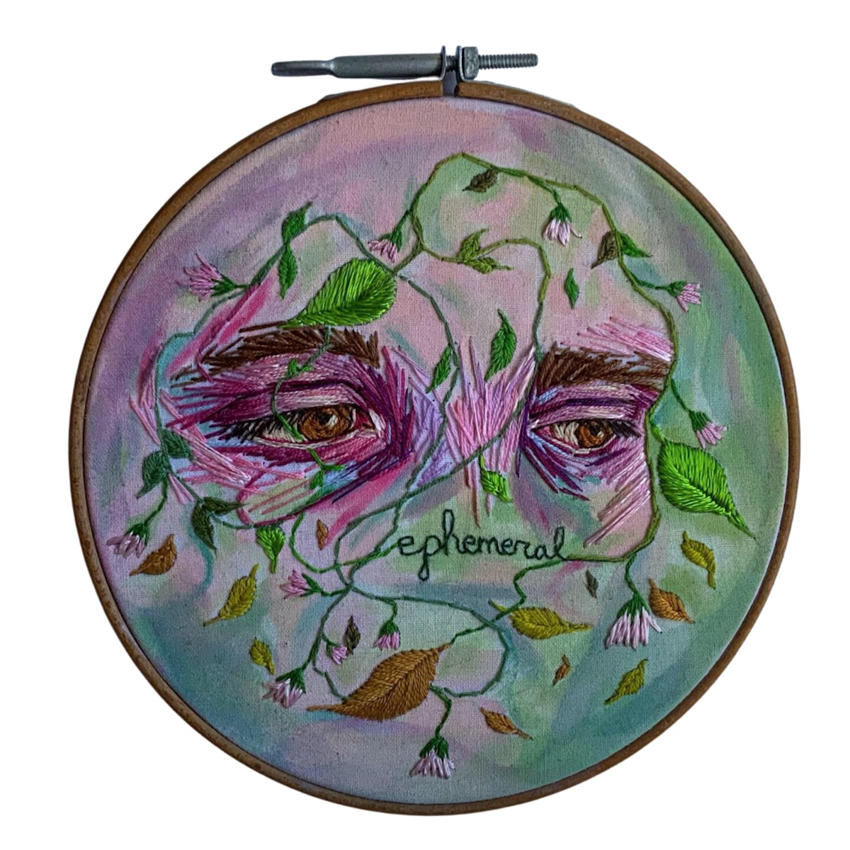 """Amber Mustafic Ephemeral, 2021 Hand embroidery and acrylic paint on cotton 8"""" diameter"""