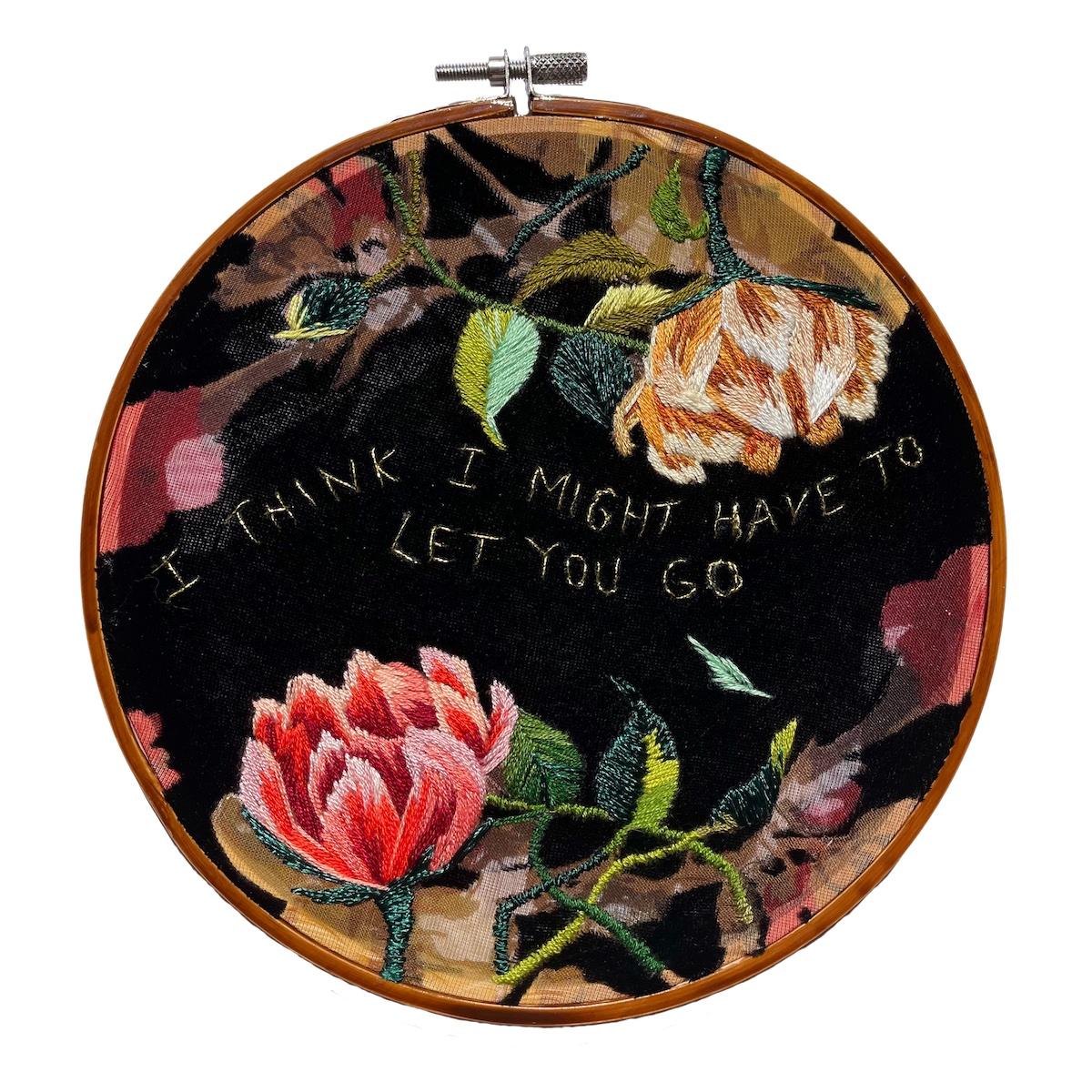 """Amber Mustafic Let You Go, 2021 Hand embroidery on velvet 7"""" diameter"""