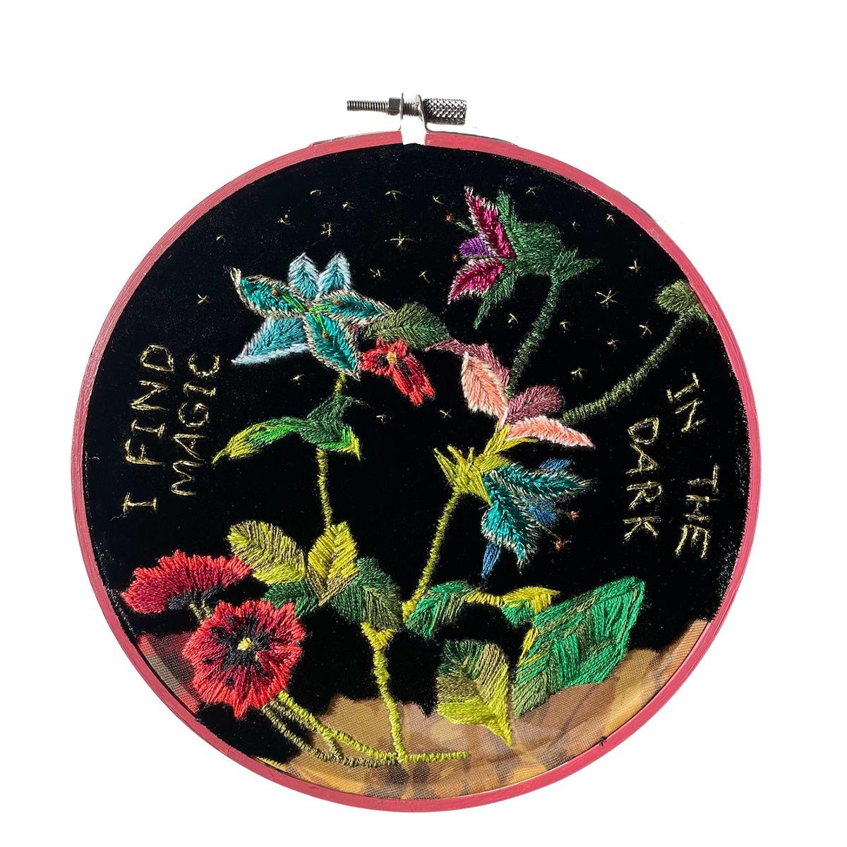 "Amber Mustafic Magic in the Darkness, 2021 Hand embroidery on velvet 7"" diameter"