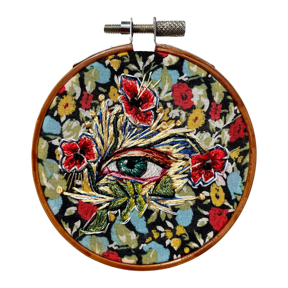 """Amber Mustafic Meet Me in the Garden at Midnight, 2021 Hand embroidery on cotton 3"""" diameter"""