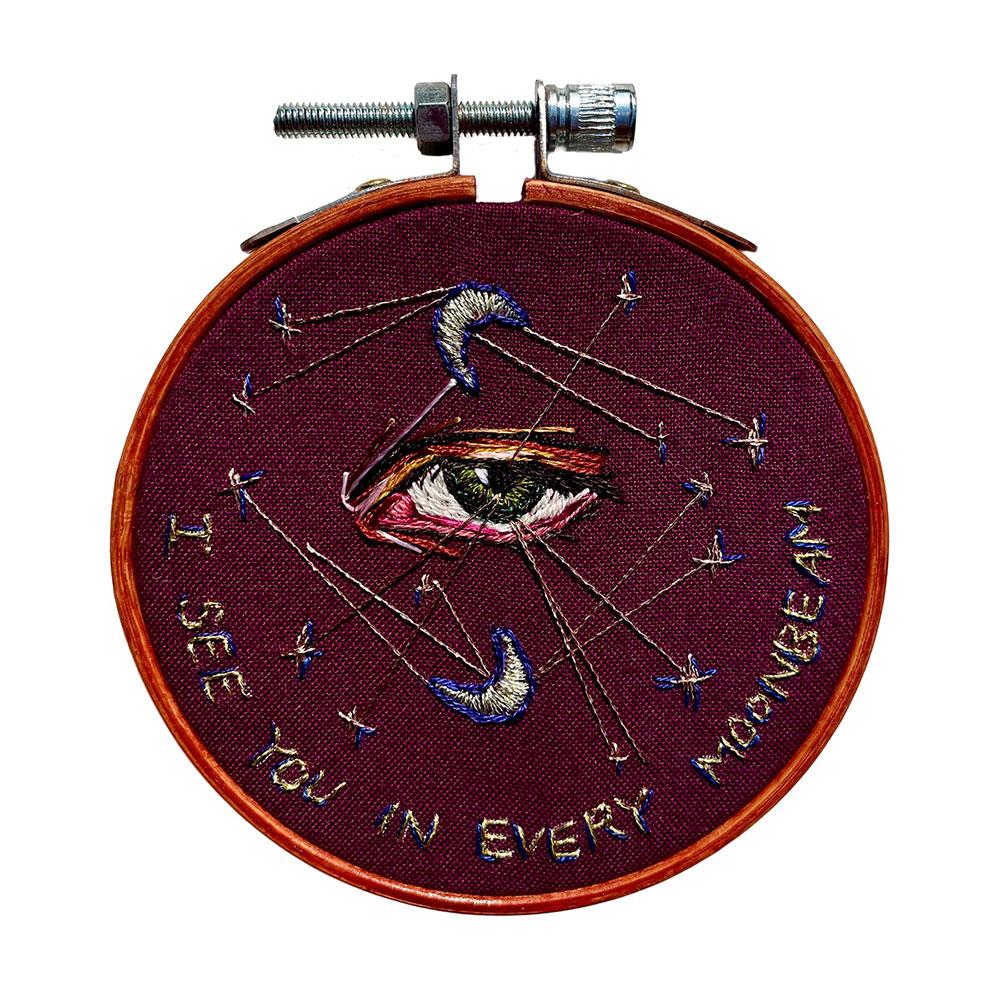 "Amber Mustafic Melancholia, 2021 Hand embroidery on cotton 3"" diameter"