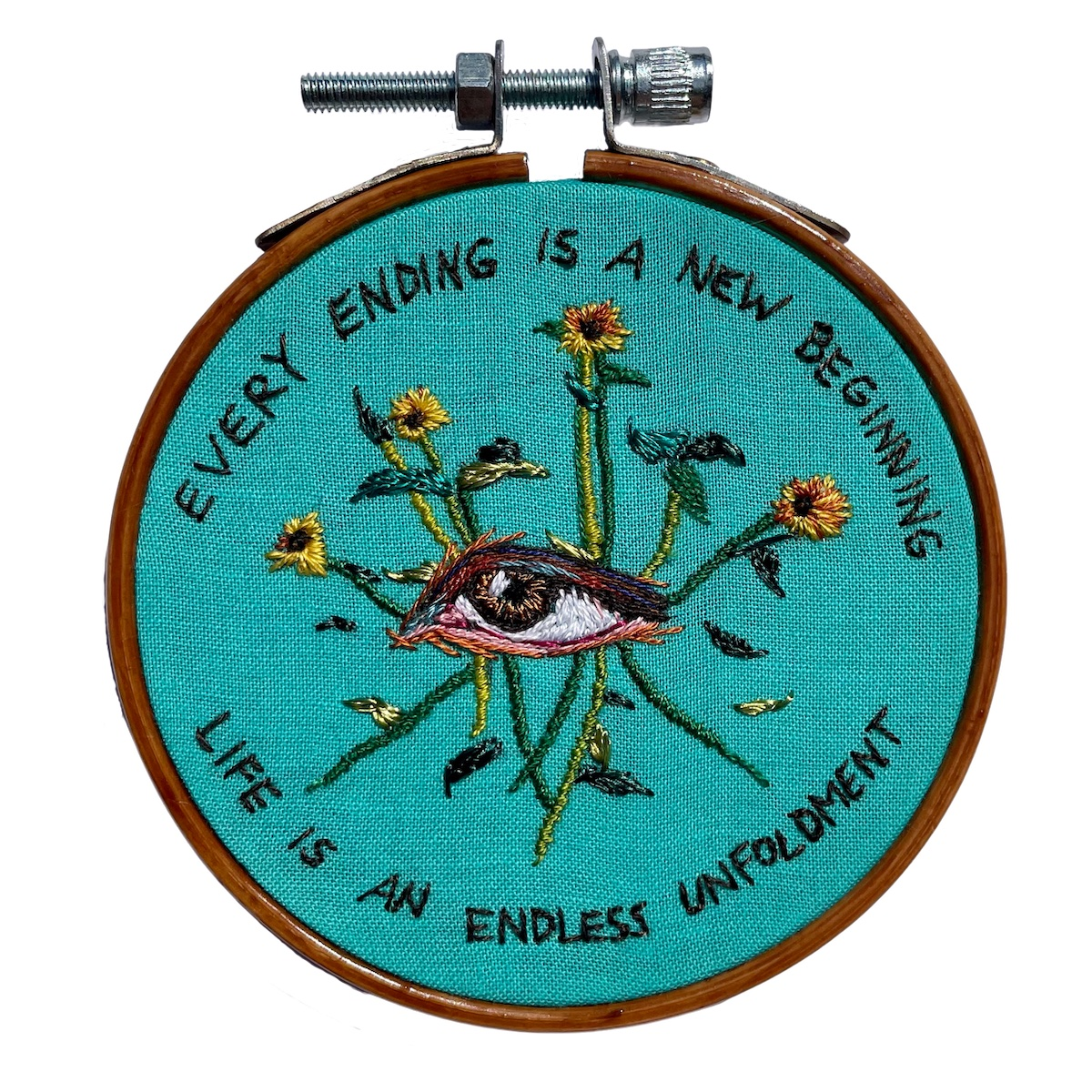 """Amber Mustafic Summer's End, 2021 Hand embroidery on cotton 3"""" diameter"""