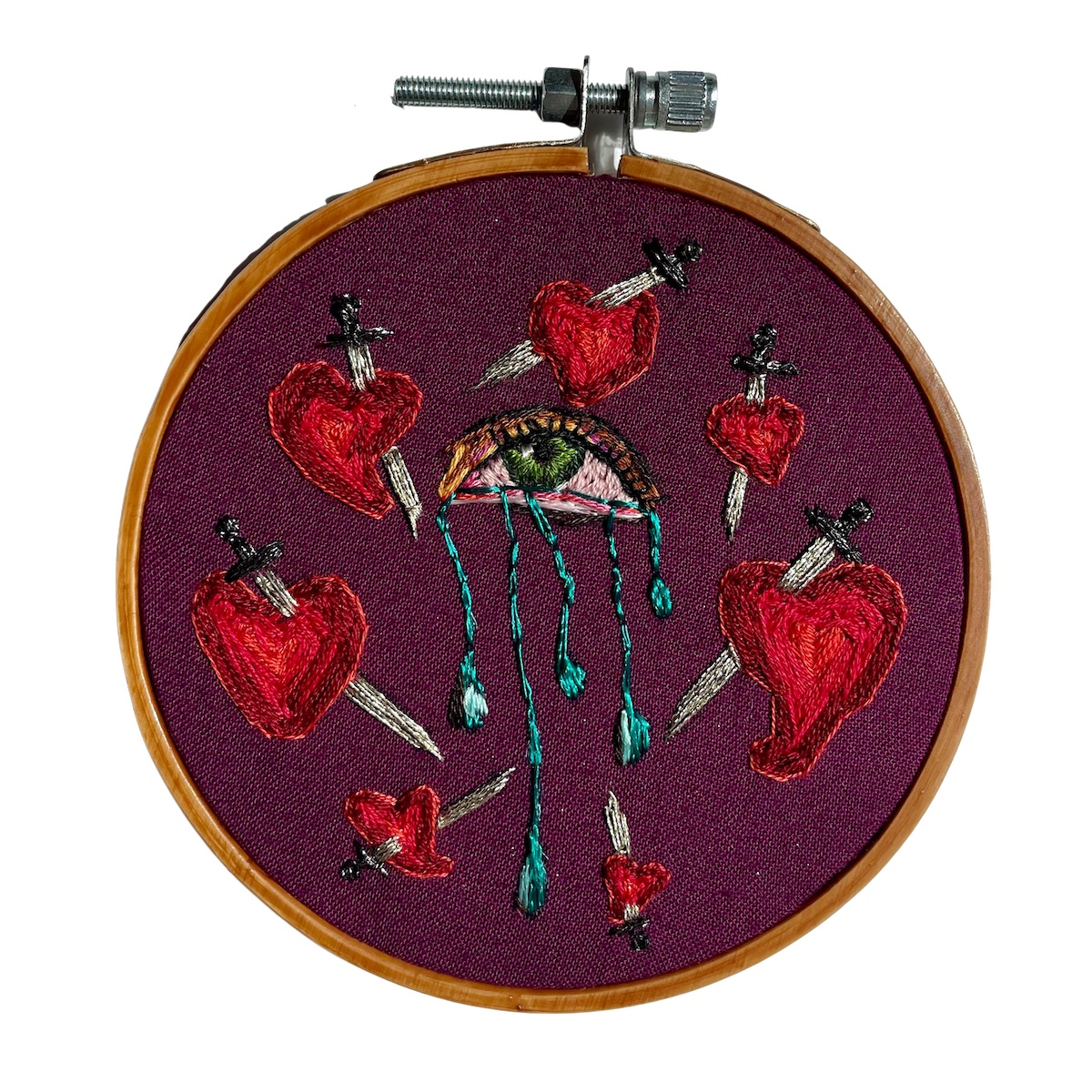 """Amber Mustafic The Death of Me, 2021 Hand embroidery on cotton 4"""" diameter"""