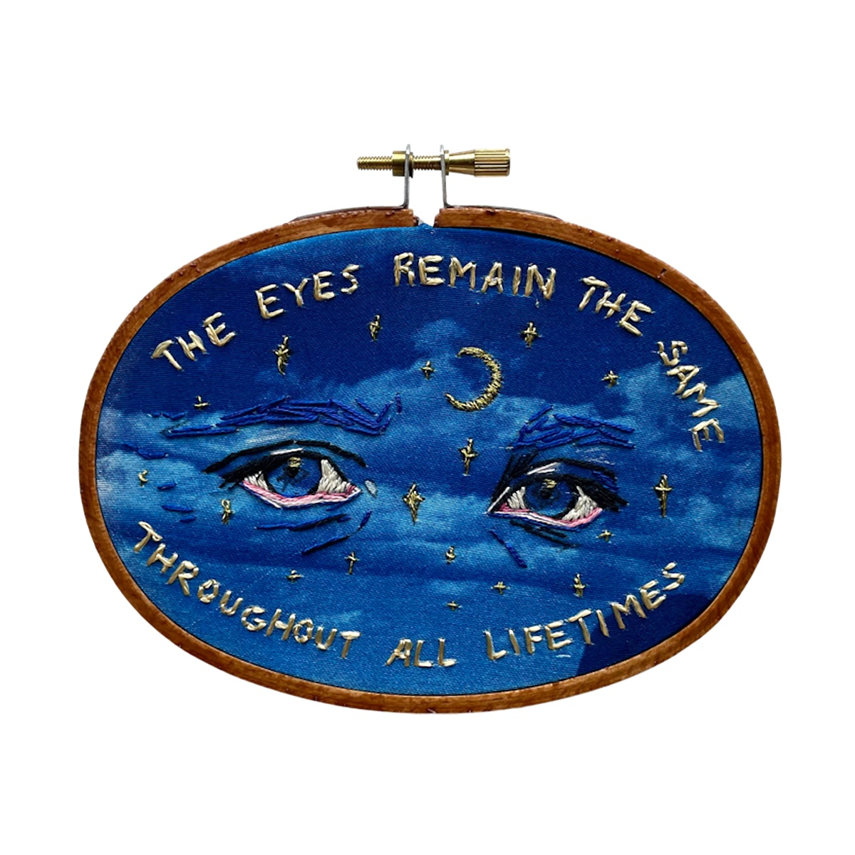 """Amber Mustafic The Eyes Remain the Same, 2021 Hand embroidered cyanotype on cotton 5 ½"""" x 4"""""""