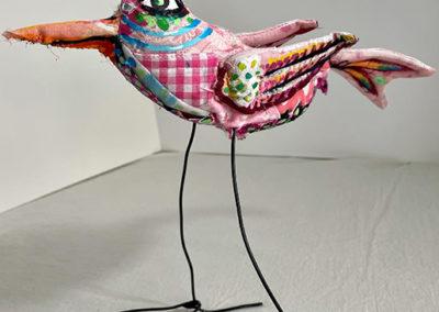 "Carol Powell Pink Bird, 2021 Mixed media, Sizes range 6"" – 9"" high"