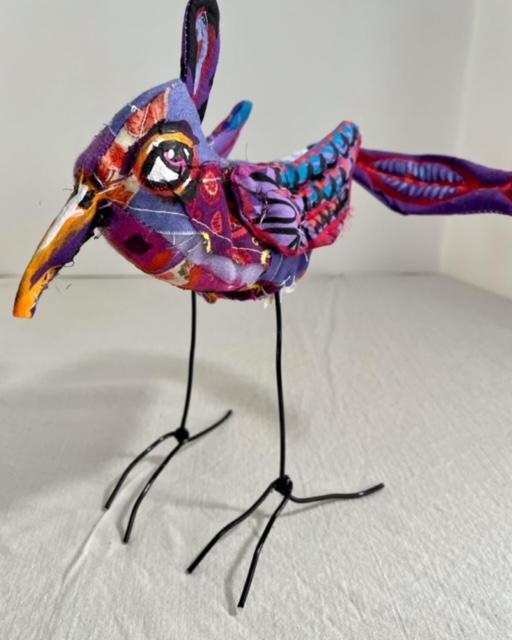 "Carol Powell Purple Bird, 2021 Mixed media, Sizes range 6"" – 9"" high"