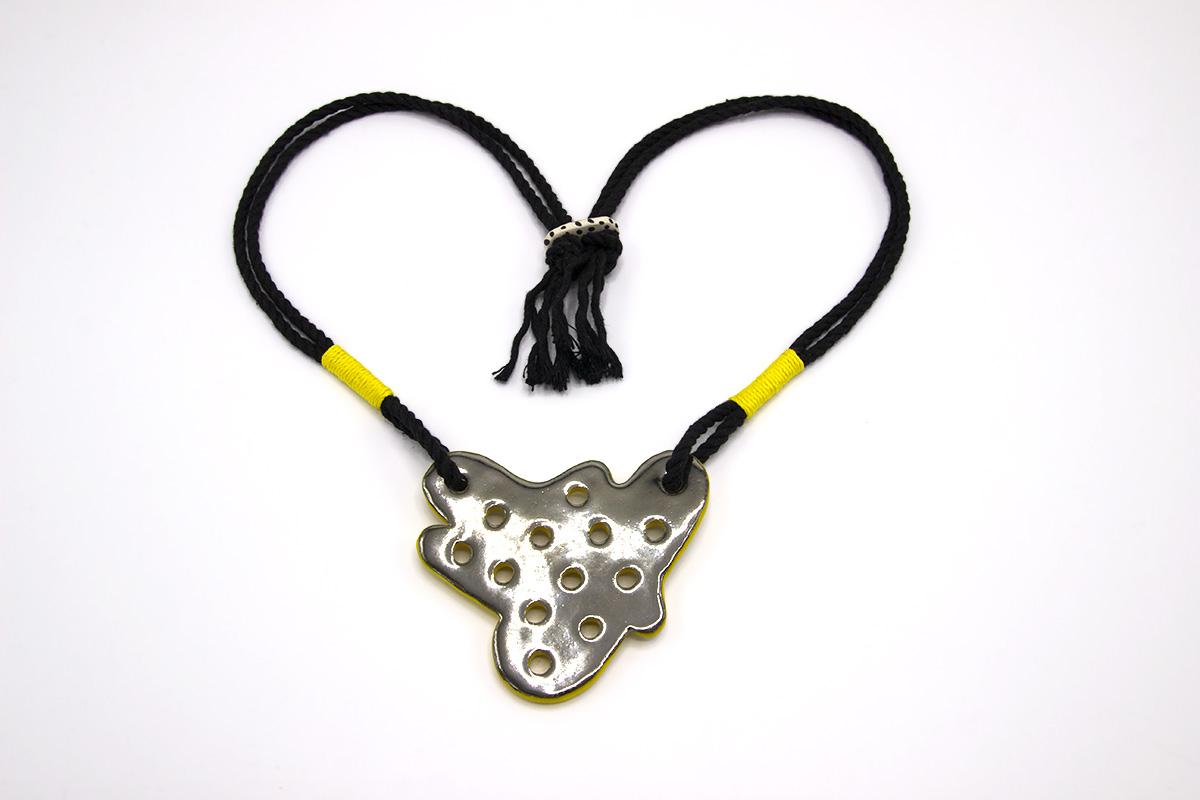 Eroyn Franklin Ameoba Necklace, 2021 Ceramic and cord
