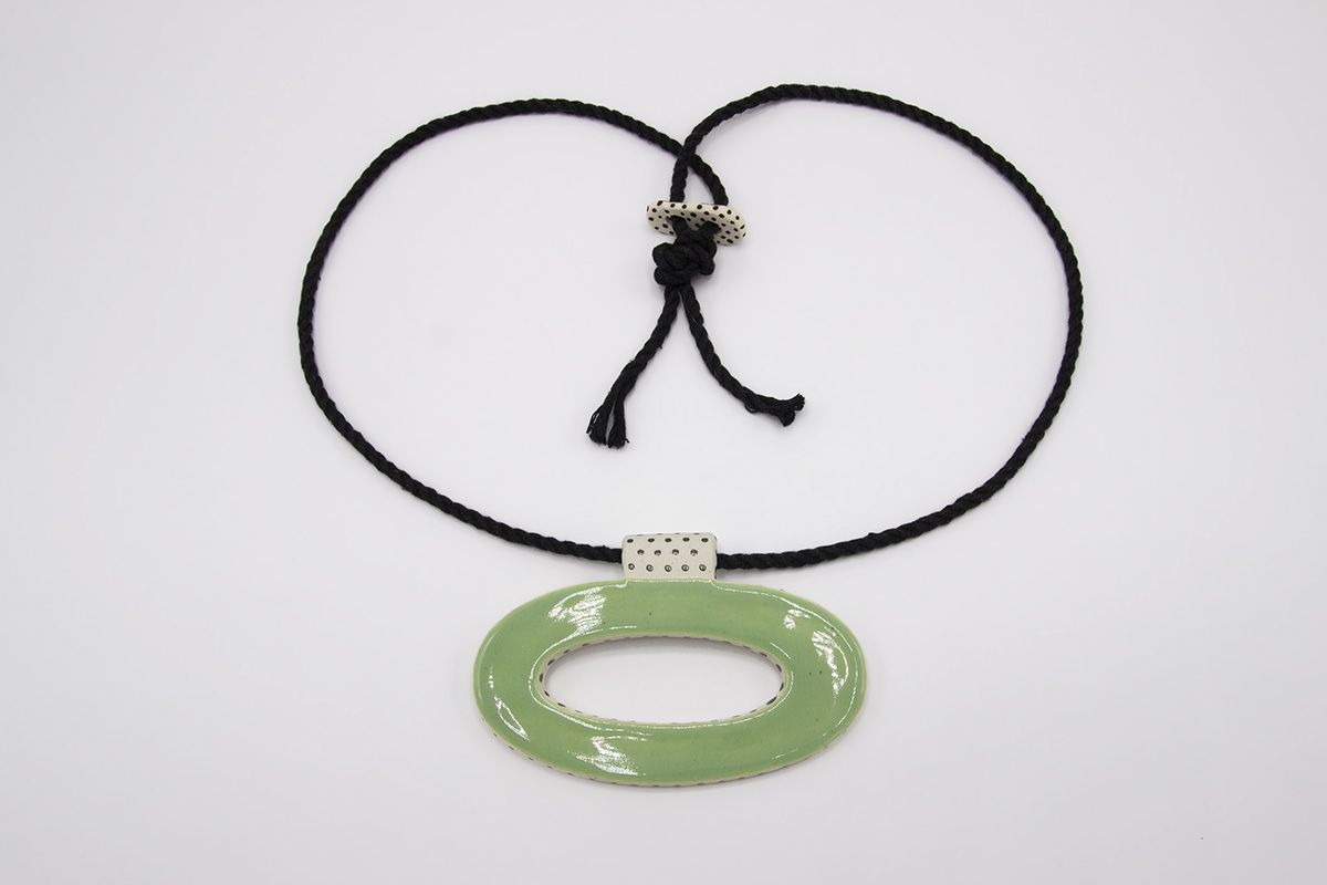 Eroyn Franklin Green Oval Necklace, 2021 Ceramic and cord