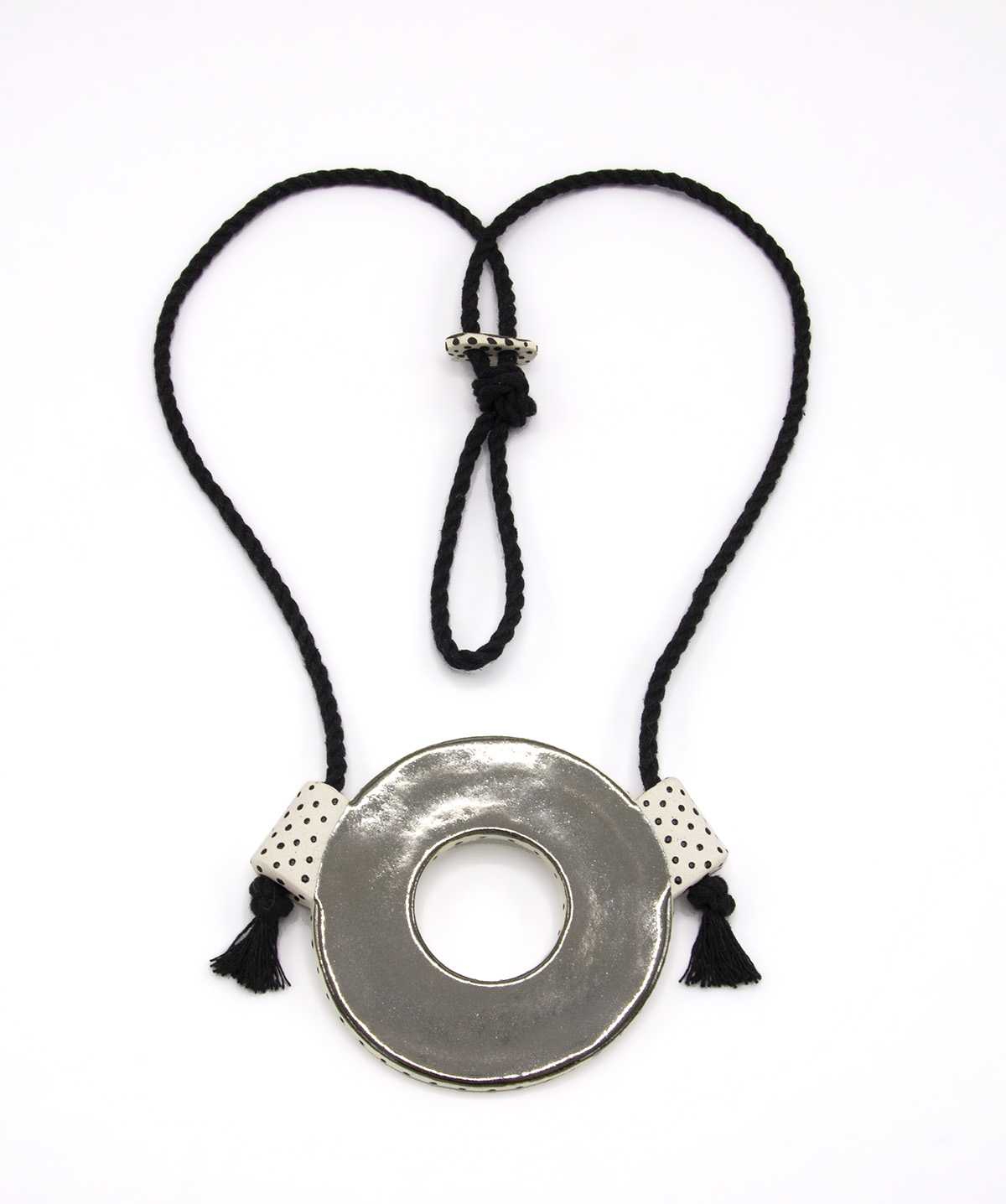 Eroyn Franklin Silver Circle Necklace, 2021 Ceramic and cord