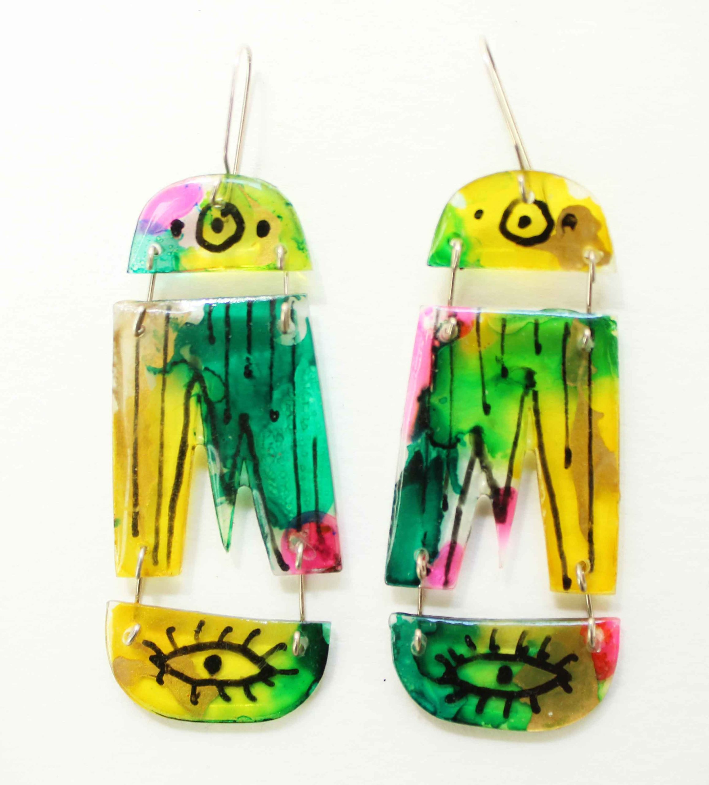 """Neely Goniodsky Green and Yellow, 2021 Acrylic, resin and sterling silver 2 ½"""" long"""