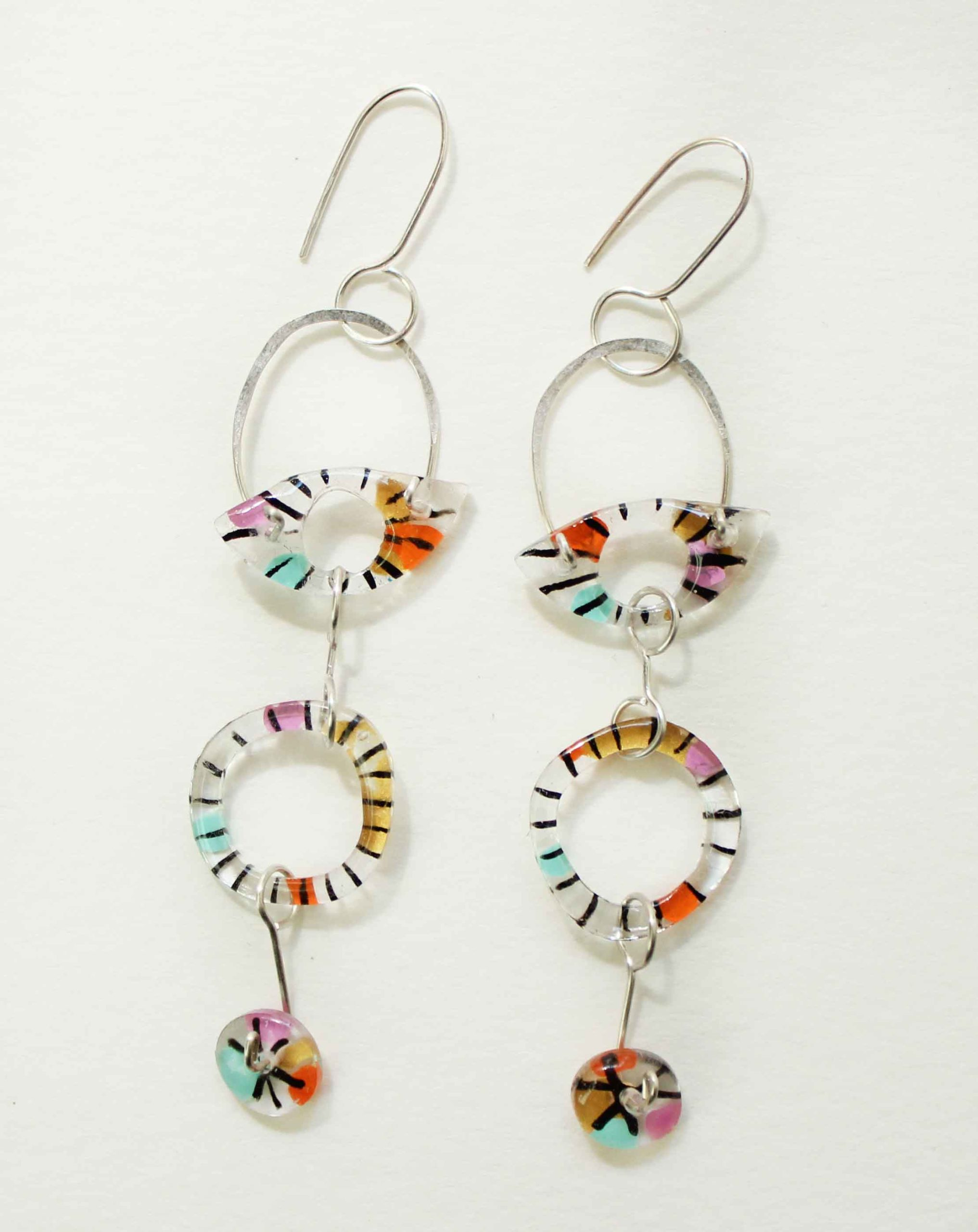"""Neely Goniodsky Long Clear Eyes, 2020 Acrylic, resin and sterling silver  3 ½"""" long"""