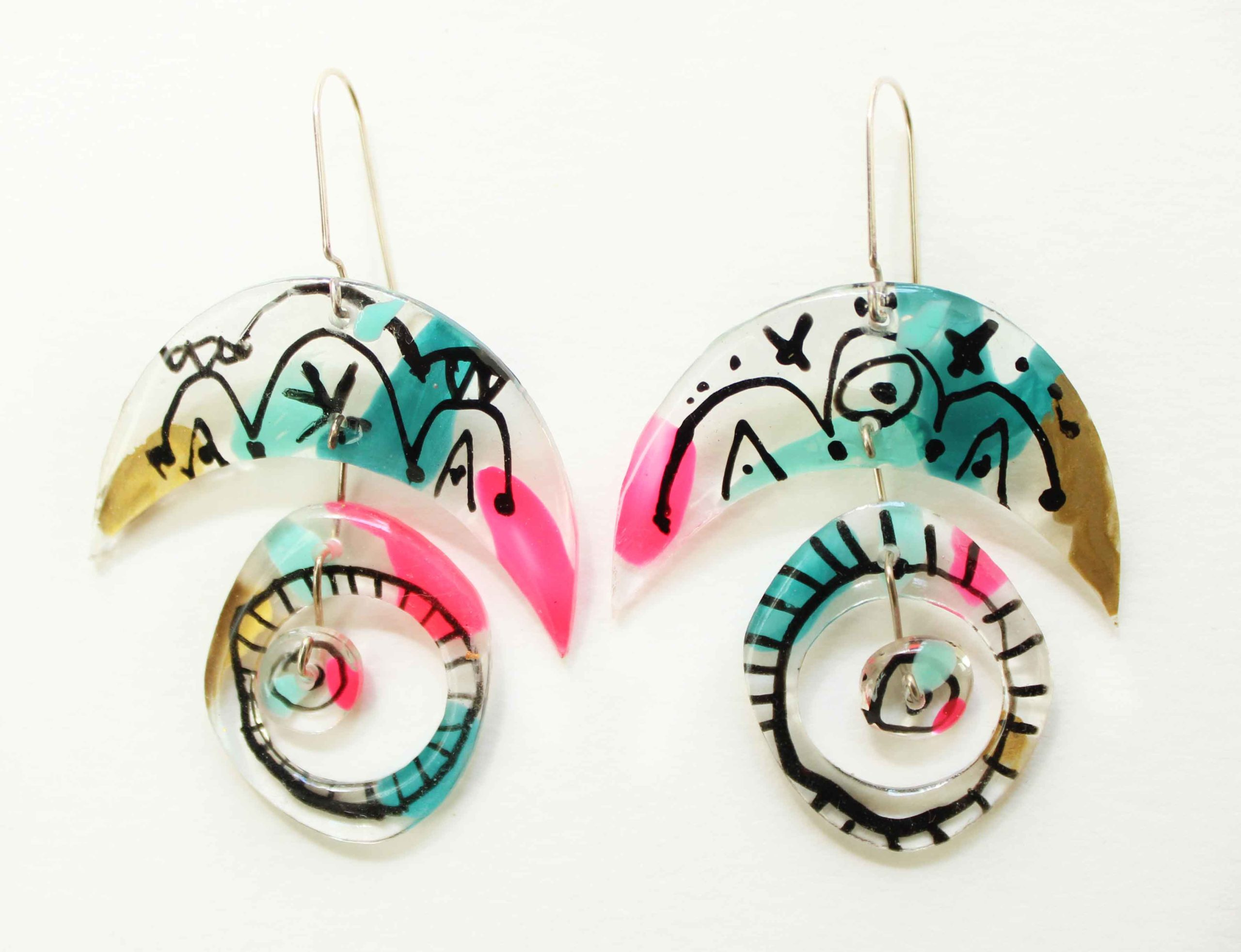 """Neely Goniodsky Pink, Gold and Turquoise, 2020 Acrylic, resin and sterling silver 2 ½"""" long"""