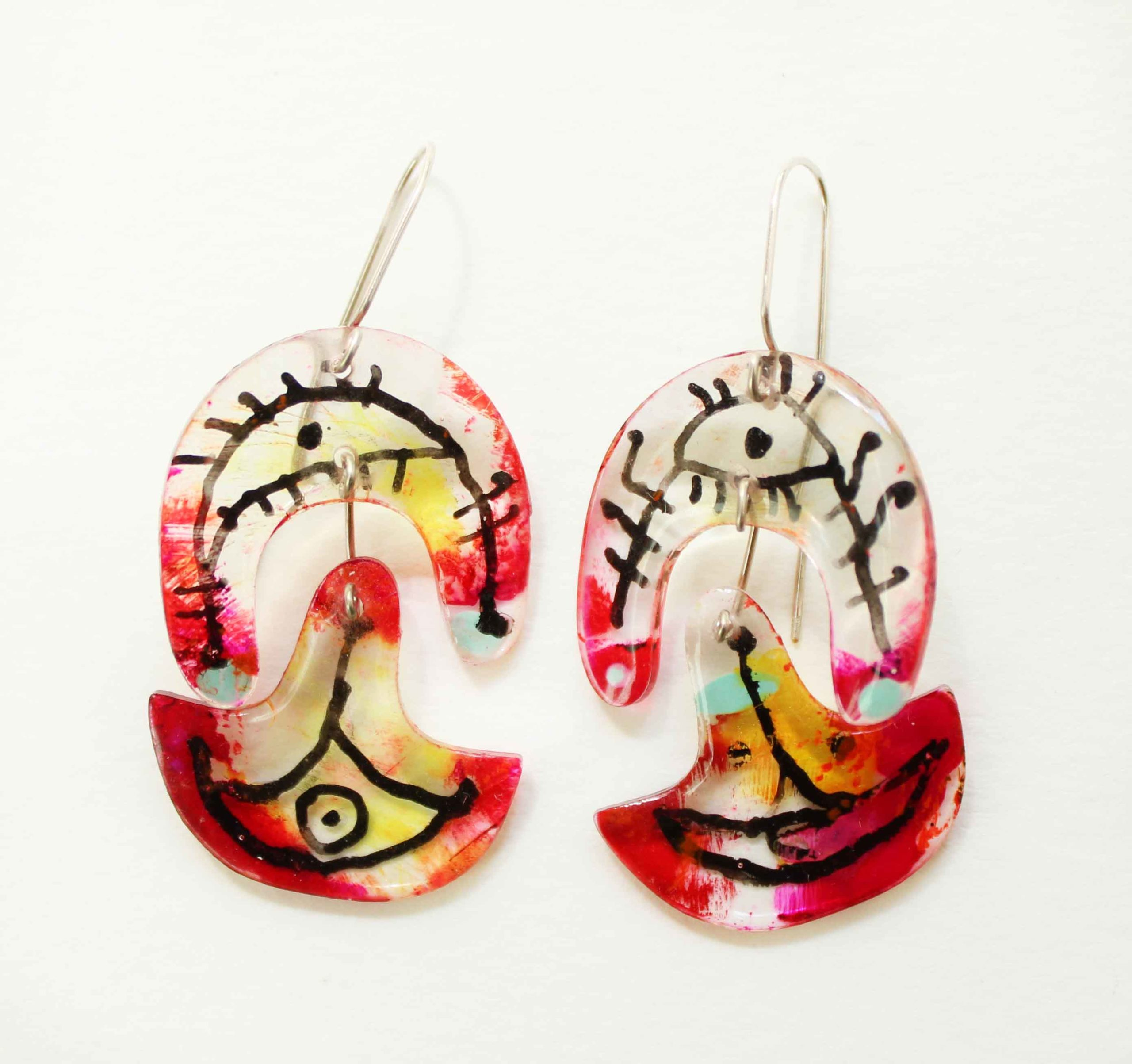 """Neely Goniodsky Yellow and Magenta, 2020 Acrylic, resin and sterling silver 2"""" long"""