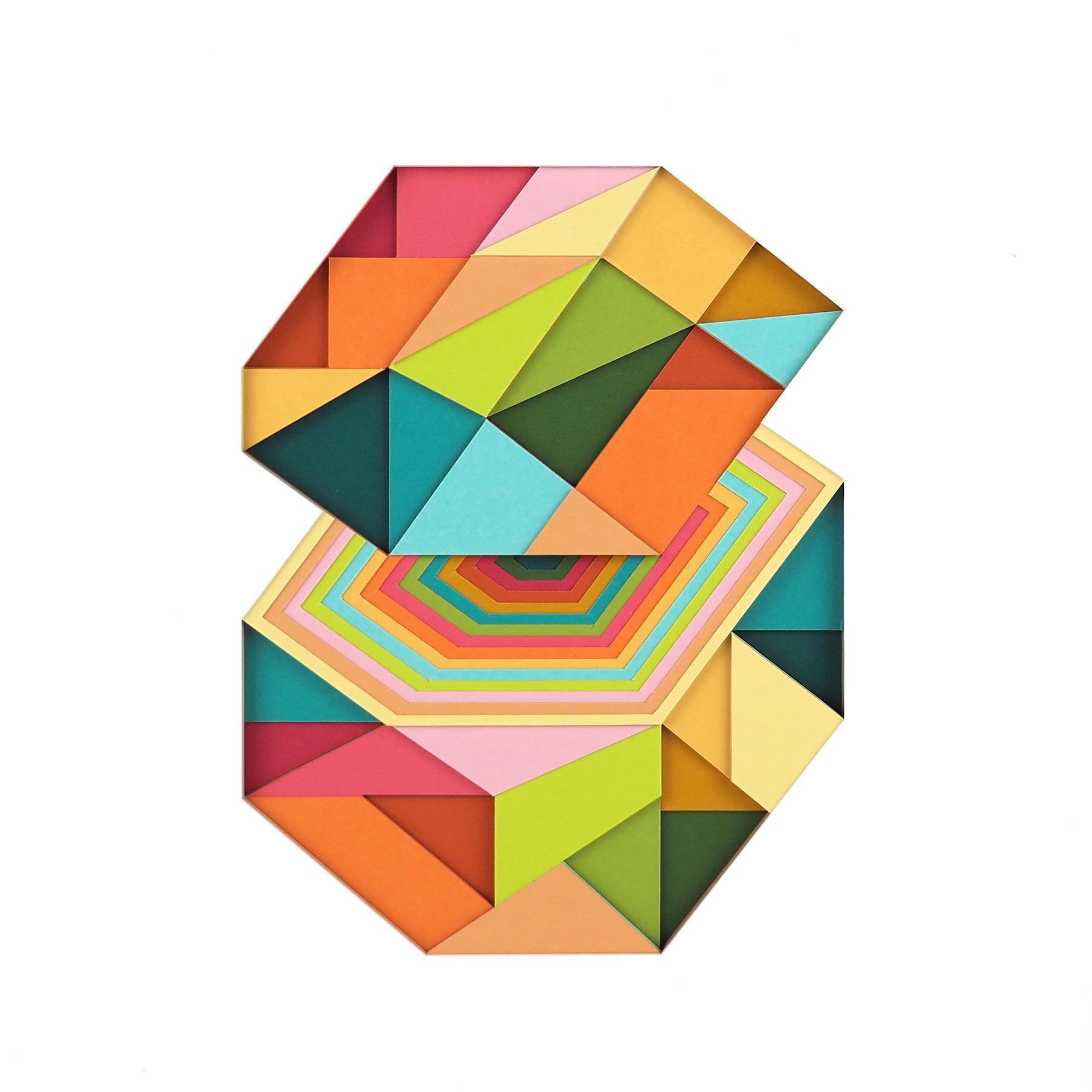 "Huntz Liu untitled 1, 2021 Layered hand-cut paper on wood panel 10"" x 10"""