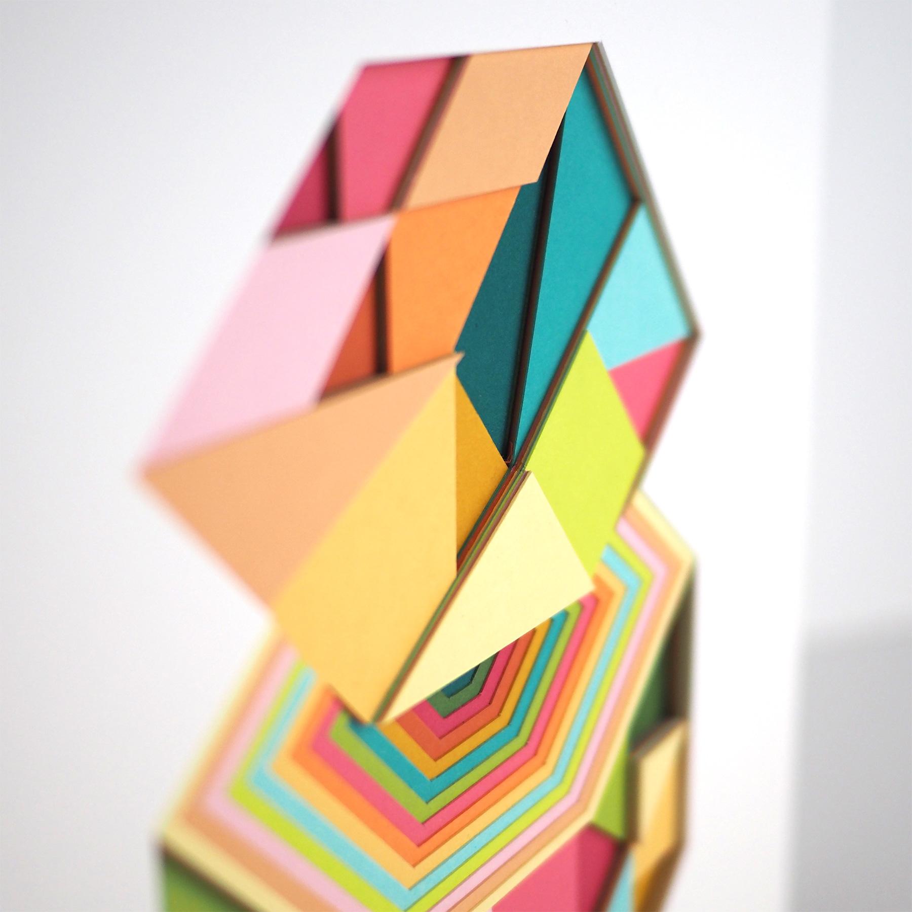 "Huntz Liu untitled 2, 2021 Layered hand-cut paper on wood panel 10"" x 10"""