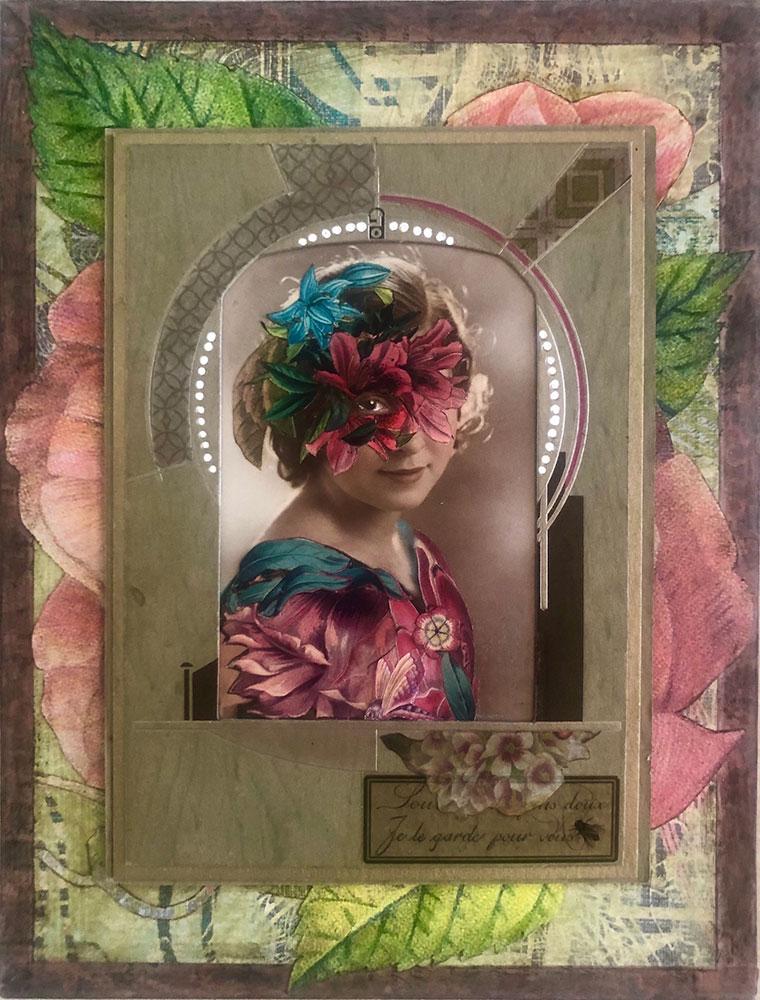 "Carol Von Stubbe Floral Display, 2021 Mixed media 9 ½"" x 7"" x 1 ¾"""