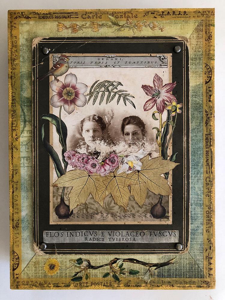 "Carol Von Stubbe Secret Garden Sisters, 2021 Mixed media 9 ½"" x 7"" x 1 ¾"""