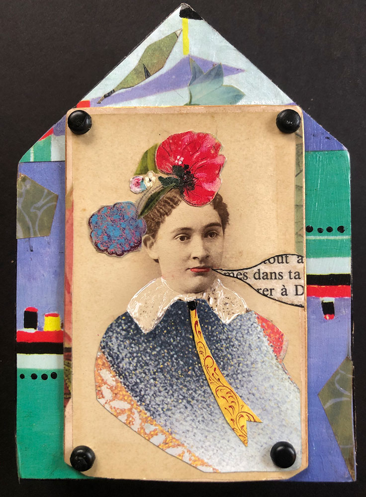 """Carol Von Stubbe Woman With Strong Opinions, 2021 Mixed media 5"""" x 3 ½"""" x ¾"""""""