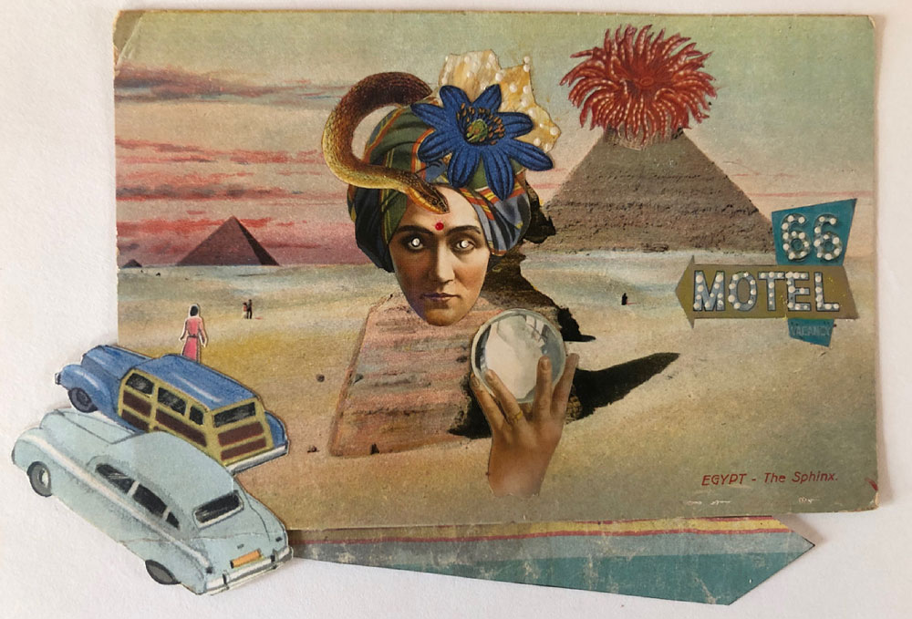"Carol Von Stubbe Seeing the Sphinx, 2021 Mixed media 4"" x 6 ½"""