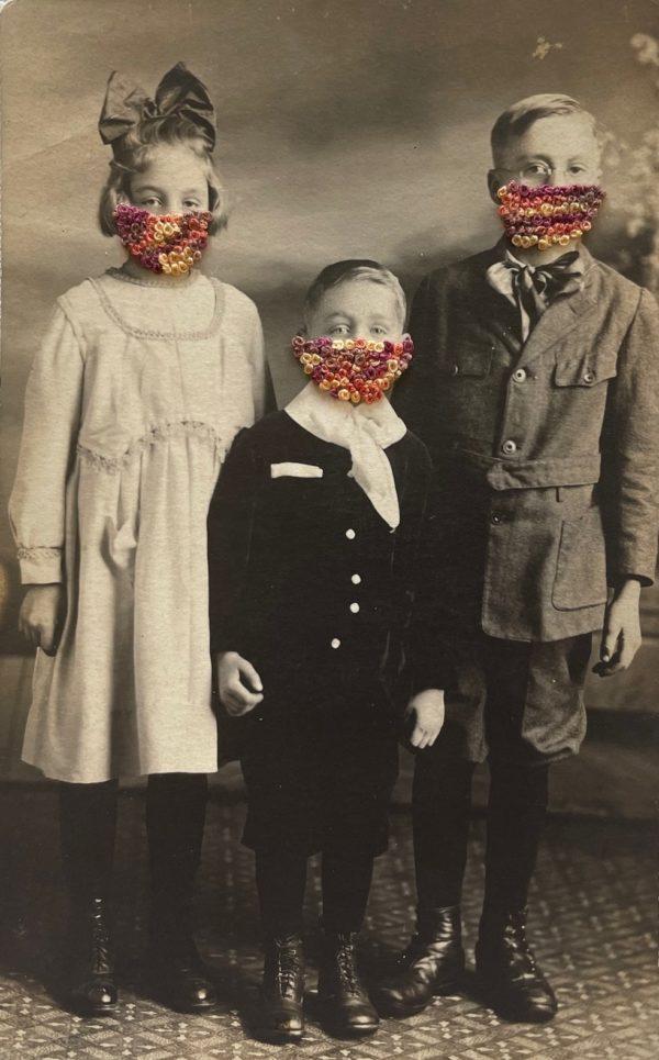 "Masked Children, 2021 Antique postcard, embroidery floss 5 ½"" x 3 ½"""